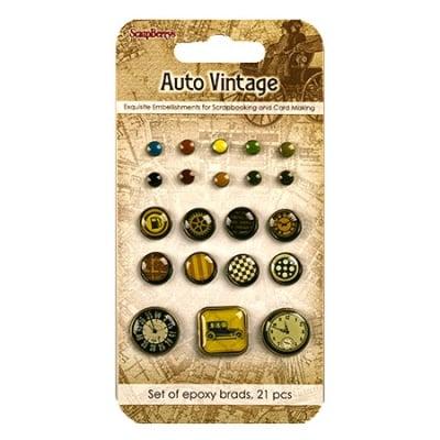 Брадс за декорация и скрапбукинг Auto vintage 21 броя