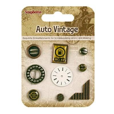 Брадс и елементи за лепене за декорация и скрапбукинг метал Auto vintage 9 броя