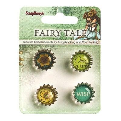 Капачка метал самозалепваща за декорация Fairy tale 4 броя