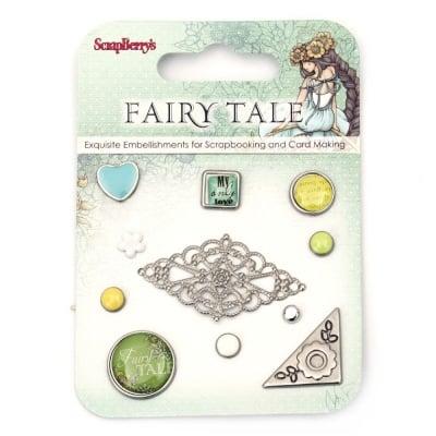 Брадс и елементи за лепене за декорация и скрапбукинг Fairy Tale 11 броя