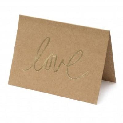 Комплект картичка LOVE 13x9.5 см с плик крафт картон -12 броя