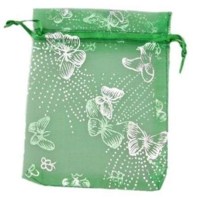 Торбичка за бижута 120x90 мм зелена със сребро