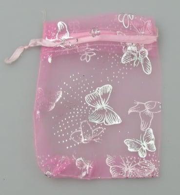 Торбичка за бижута 120x90 мм розова със сребро