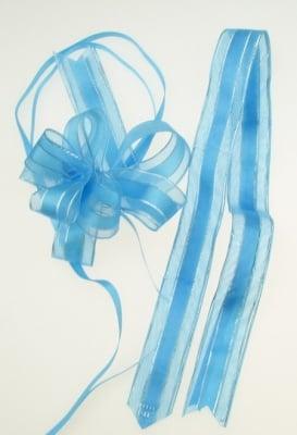 Панделка органза и сатен 95x22x1мм цвят син