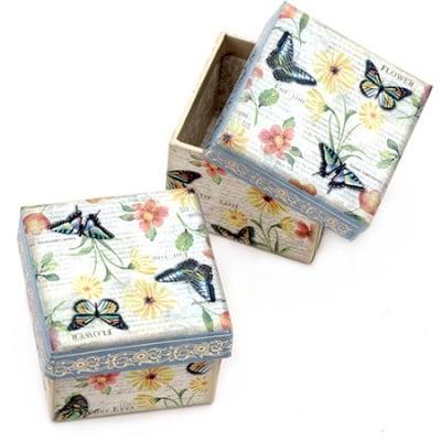Кутийка за бижута 70x59 мм картон със златен кант Flower