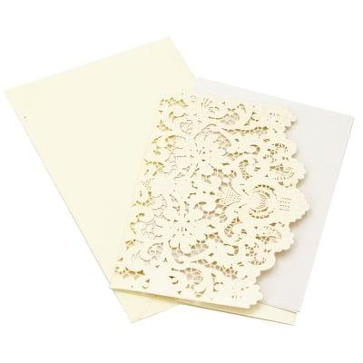 Картичка дантела 185x125 мм цвят екрю с плик