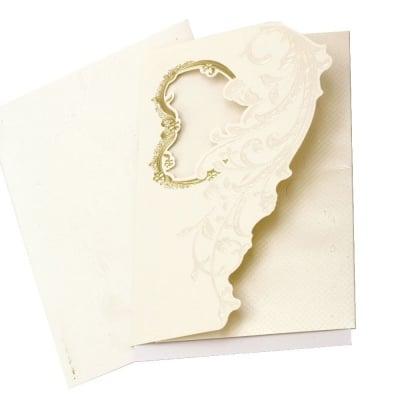 Картичка цветя и сърце 190x125 мм цвят екрю с плик