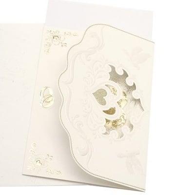 Картичка сърце и гълъби 185x125 мм цвят бял с плик щампа