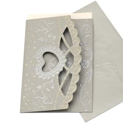 Картичка дантела и сърце 185x125 мм цвят сребро с плик щампа