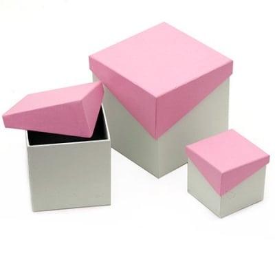 Кутия картон комплект от 3 броя -7x7.2 см, 10.5x10.1 см, 13x13.2 см цвят зелено и розово