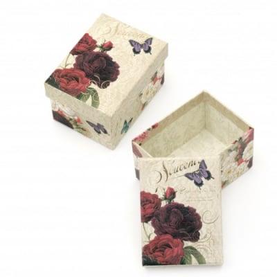 Кутийка за бижута 100x75 мм картон със златен кант Rose