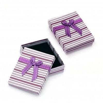 Кутийка за бижута 70x90 мм бяло и лилаво