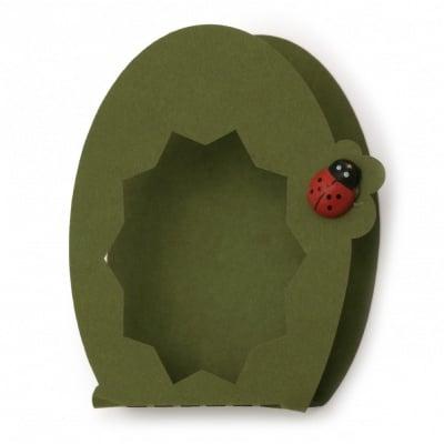 Подаръчна опаковка/основа за картичка с прозорец перлен картон 95x70x12 мм зелена тревисто