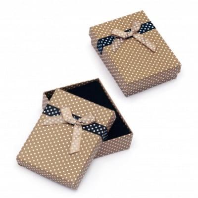 Кутийка за бижута 70x90 мм кафява на точки
