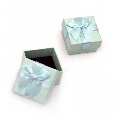 Кутийка за бижута 60x60 мм синя светла