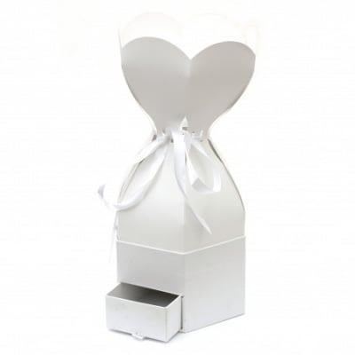 Кутия за подарък шестоъгълна 40x20.5 см с чекмедже и лента сатен бяла