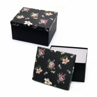 Кутия за подарък правоъгълна 26x21.5x14.5 см черна с цветен капак