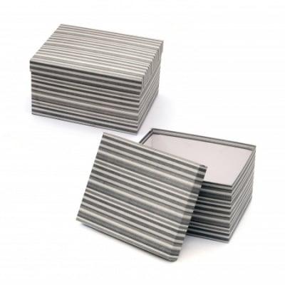 Кутия за подарък правоъгълна 22.5x17x12.5 см сива рае