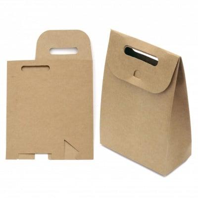 Торбичка крафт картон сгъваема 14x20x7 см
