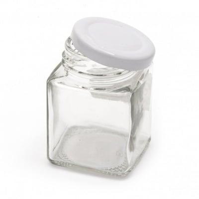 Бурканче стъкло квадратно 53x74 мм метална капачка цвят сребро 100 мл