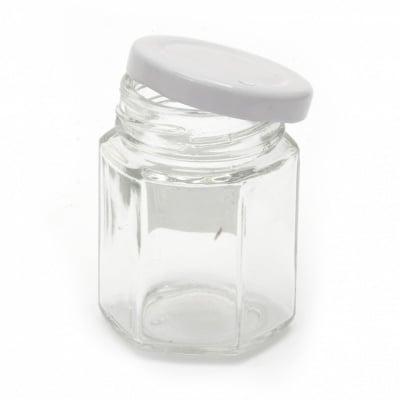 Бурканче стъкло шестоъгълно 44x52 мм метална капачка цвят сребро 45 мл