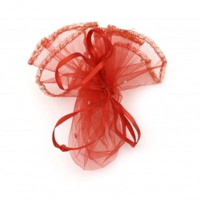 Торбичка за бижута 26 см червена с шарка