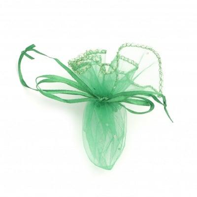 Торбичка за бижута 26 см зелена с шарка