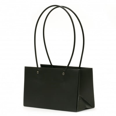 Опаковка за цветя хартиена чанта 22x13.5x10 см черна