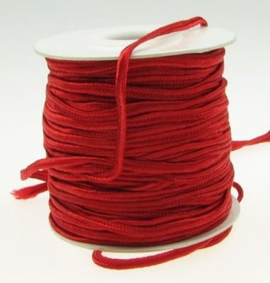 Текстилен шнур за Сутаж 3 мм цвят червен -1 метър
