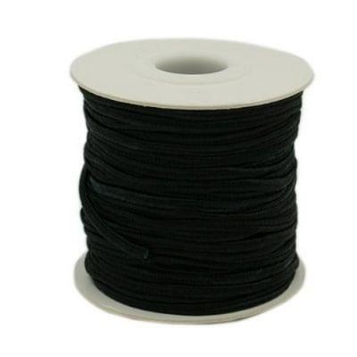 Текстилен шнур за Сутаж 3 мм цвят черен -1 метър