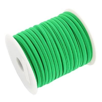 Шнур коприна 5x3 мм Habotai цвят зелен -1 метър