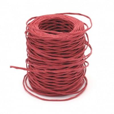 Шнур от хартия с тел 2.5 мм цвят червен -50 метра