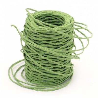 Шнур от хартия с тел 2.5 мм цвят зелен -50 метра