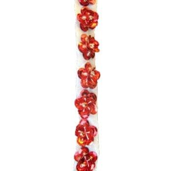 Ширит 8мм. пайети-цвете червен-1 метър