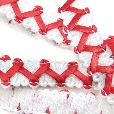 Ширит 11 мм. текстил и кожа зиг-заг бяло с червено -20 метра