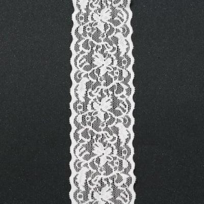 Лента дантела еластична 60 мм бяла - 1 метра