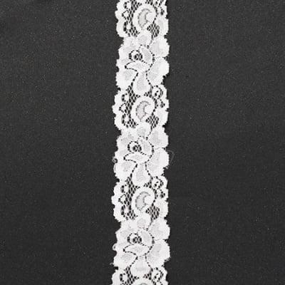 Лента дантела еластична 35 мм бяла - 1 метра
