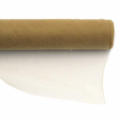 Тюл мек за декорация 48x450 см бежов тъмно