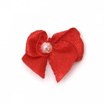 Панделка 18 мм с перла червена -50 броя