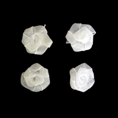 Роза тюл 25 мм. бяла -10 броя