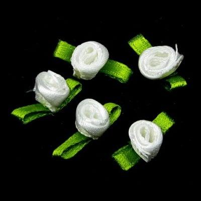 Роза 8 мм с листенце бяла -50 броя