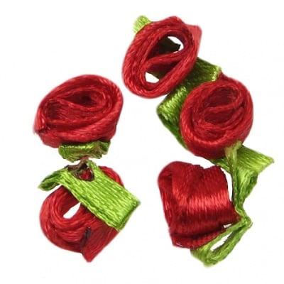 Роза 8 мм с листенце червена -50 броя