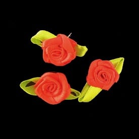 Роза 12х30 мм с листо червена -50 броя