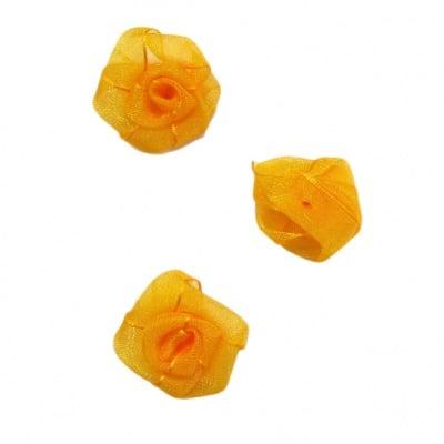 Роза тюл 25 мм. оранжева -10 броя