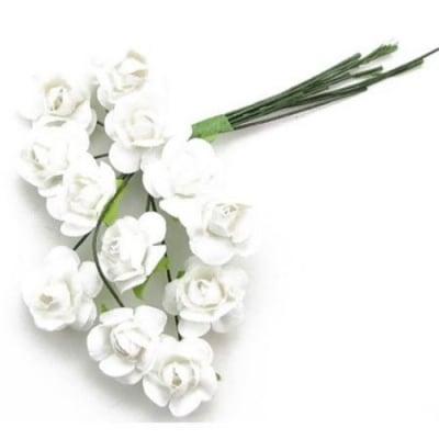 Роза букет хартия и тел 15 мм. бяла -12 броя
