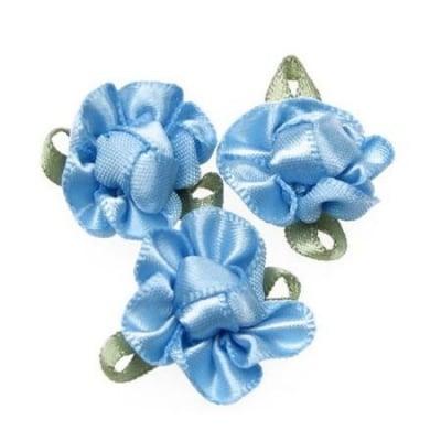 Цвете 20х28 мм с листо синьо -10 броя