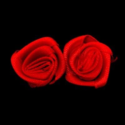 Роза текстил 16x6 мм цвят червен -50 броя