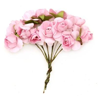 Роза букет хартия и тел 20x80 мм розово 5 -12 броя