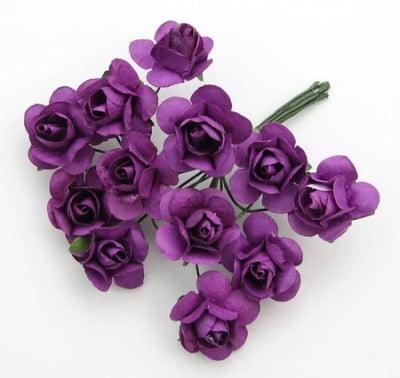 Роза букет хартия и тел 18 мм цвят виолетов -12 броя