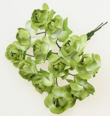 Роза букет хартия и тел 20 мм зелено и бяло-12 броя